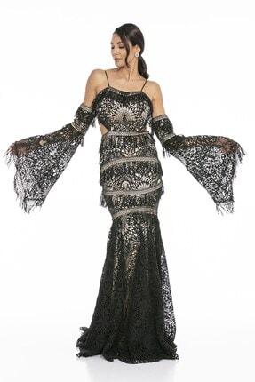 Abiye Sarayı Kadın Siyah Bel ve Kol Detaylı Askılı Balık Uzun Abiye Elbise 1