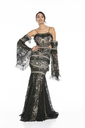 Abiye Sarayı Kadın Siyah Bel ve Kol Detaylı Askılı Balık Uzun Abiye Elbise 2