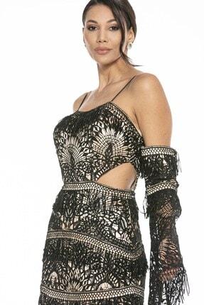 Abiye Sarayı Kadın Siyah Bel ve Kol Detaylı Askılı Balık Uzun Abiye Elbise 4