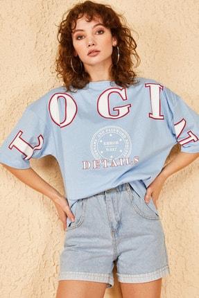 Bianco Lucci Kadın Login Baskılı Oversize Tshirt 0