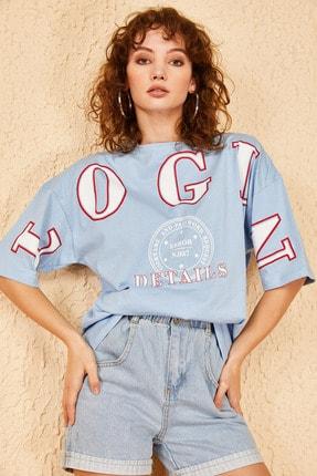 Bianco Lucci Kadın Login Baskılı Oversize Tshirt 3