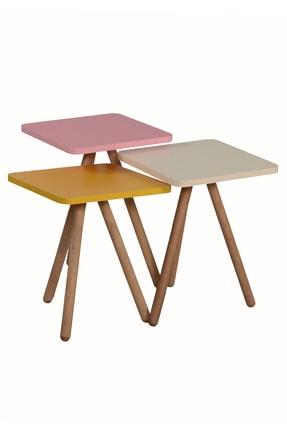 interGO Renkli Üçlü Zigon Sehpa Ahşap Ayaklı Kare Tasarım Pastel Renkler Sarı Krem Pembe 1
