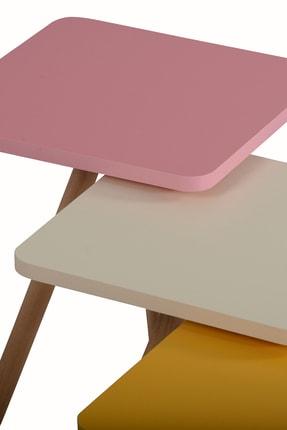 interGO Renkli Üçlü Zigon Sehpa Ahşap Ayaklı Kare Tasarım Pastel Renkler Sarı Krem Pembe 3