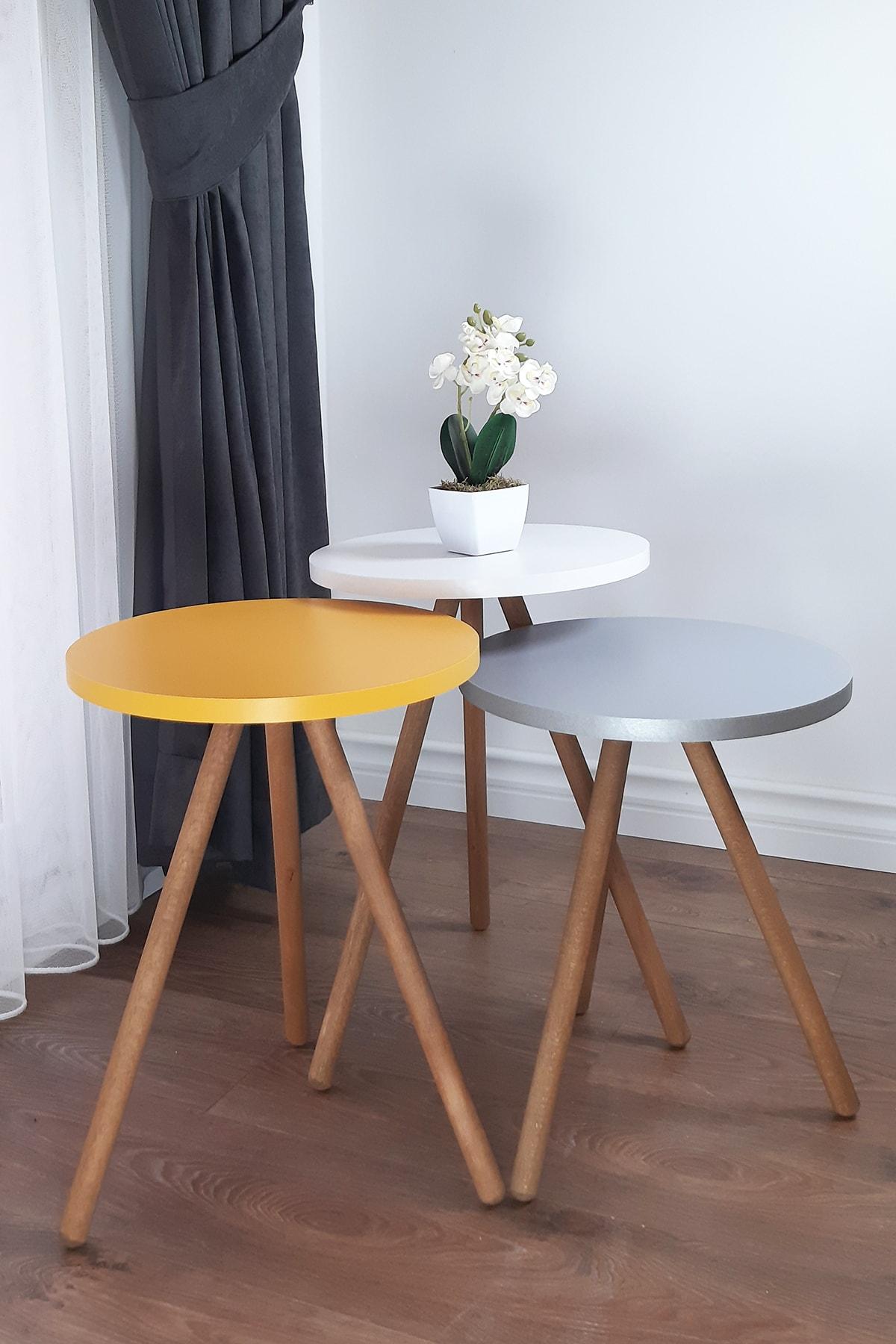 Renkli Üçlü Zigon Sehpa Ahşap Ayaklı Yuvarlak Pastel Tasarım Gri Beyaz Sarı