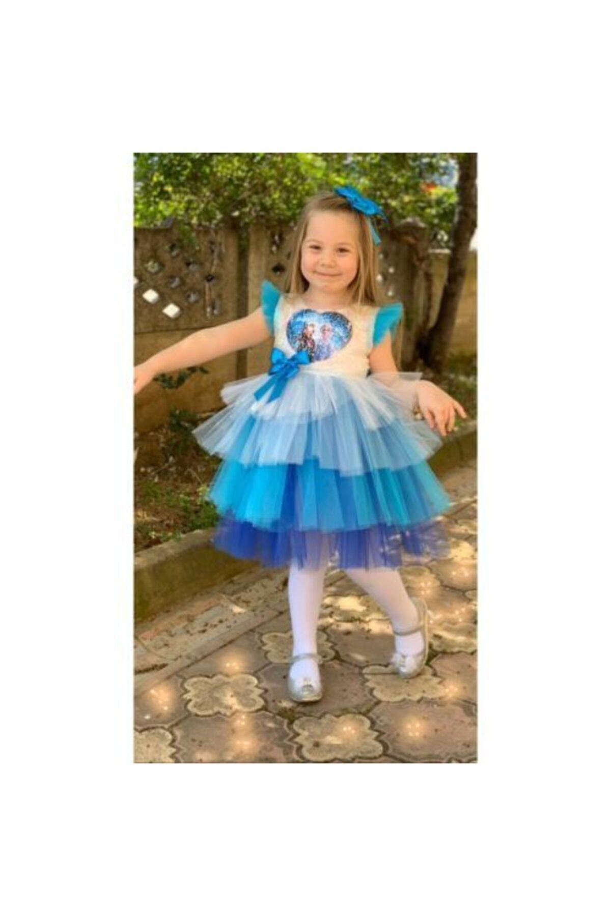 Kız Çocuk Mavi Elsa Tütülü Ve Pullu Elbise