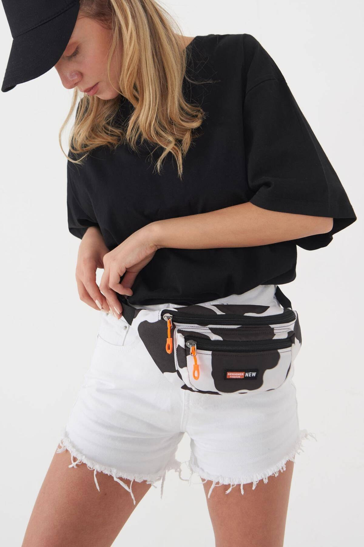 Addax Kadın Siyah Beyaz Bel Çantası Ç2222 - F11 Adx-0000023858 0