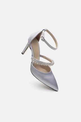 Jorbinol Kadın Gümüş Renk Bant Detaylı Hera Topuklu  Abiye Ayakkabı 3
