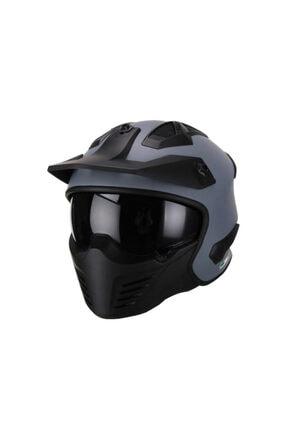 Unisex Gri Moduler Motosiklet Kaskı Moduler Kask