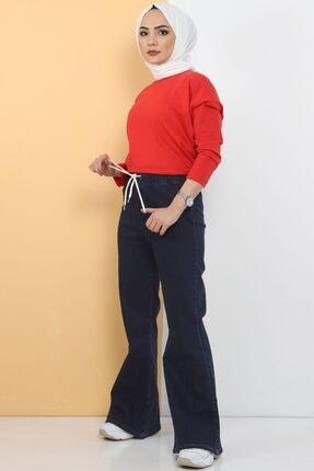 Tesettür Dünyası Ispanyol Paça Kot Pantolon Tsd22014 Koyu Mavi 3