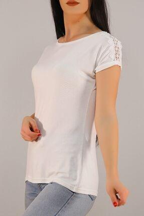 Lukas Kadın Beyaz Omuz Dantelli Tişört 5039. 3