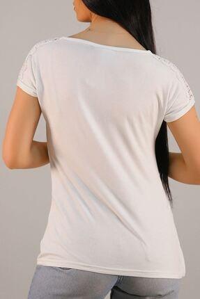 Lukas Kadın Beyaz Omuz Dantelli Tişört 5039. 4