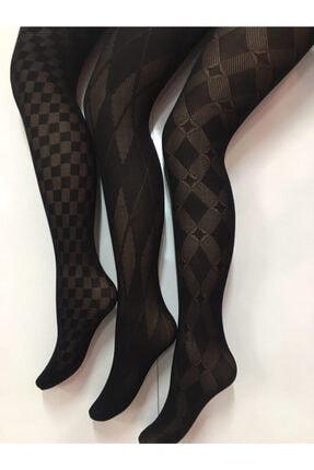 Nbb Kadın Desenli Kilotlu Çorap 3lü 2