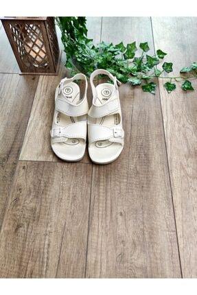 Keven Home Kadın Krem Sandalet Çift Bant Anatomik ve Ortopedik Sandalet 1