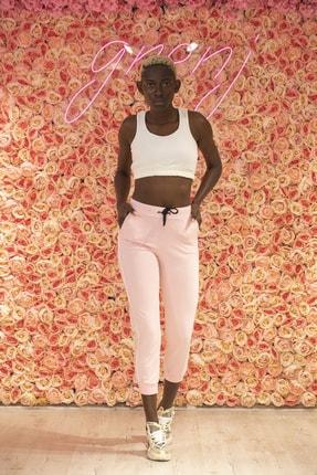 Grenj Fashion Kadın Pembe Yüksek Bel İki İplik Eşofman Altı 0