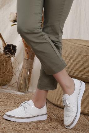 Odal Shoes Kadın White Rose Casual Ayakkabı 4