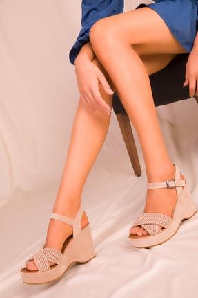 Soho Exclusive Vizon Süet Kadın Dolgu Topuklu Ayakkabı 15938 2