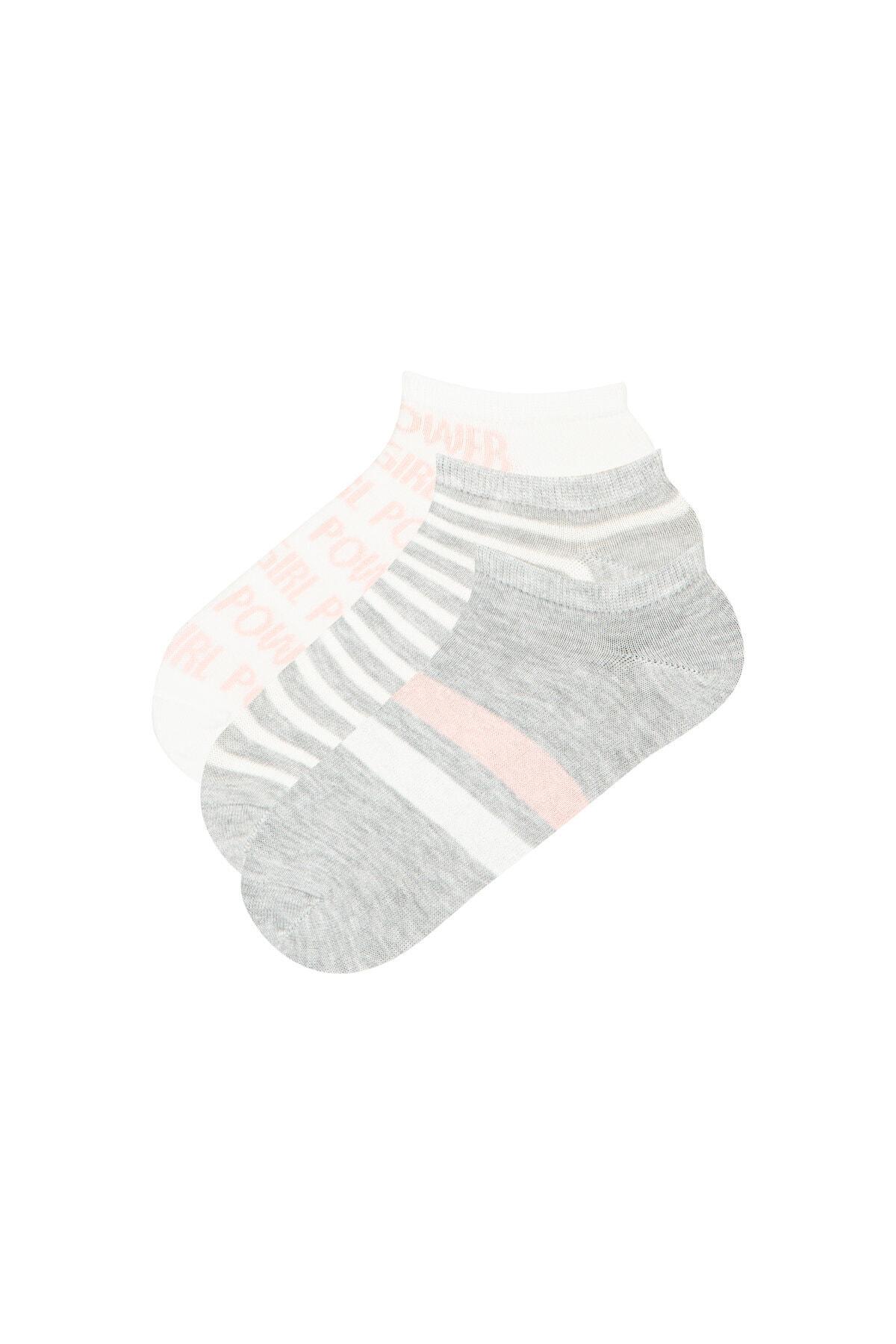Gri Beyaz Gırl Power  Patik Çorap 3lü