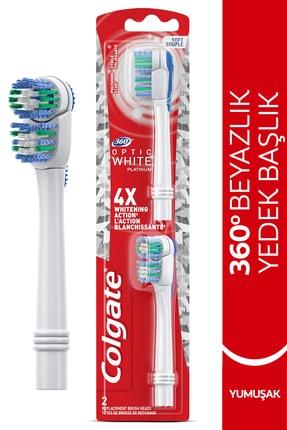 Colgate 360 Pilli Optik Beyaz Platinum Beyazlatıcı Yumuşak Diş Fırçası Yedek Başlık 1+1 0