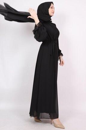 ENDERON Yakası Drapeli Şifon Tesettür Elbise 1