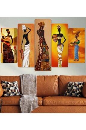 hanhomeart Afrikalı Kadınlar Parçalı Ahşap Duvar Tablo Seti 0