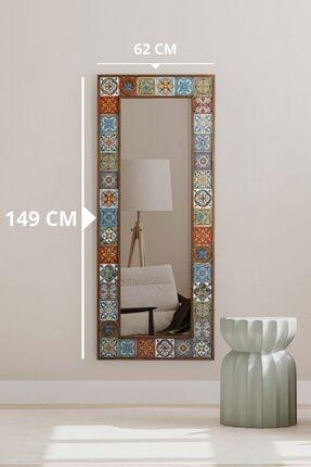 bluecape Doğal Ağaç Çerçeveli  El Yapımı Çini Seramik Kaplı Salon Boy Ayna Çerçevesi 62x149 Cm 0