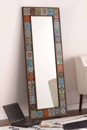 bluecape Doğal Ağaç Çerçeveli  El Yapımı Çini Seramik Kaplı Salon Boy Ayna Çerçevesi 62x149 Cm 1