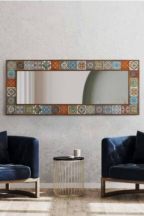 bluecape Doğal Ağaç Çerçeveli  El Yapımı Çini Seramik Kaplı Salon Boy Ayna Çerçevesi 62x149 Cm 3