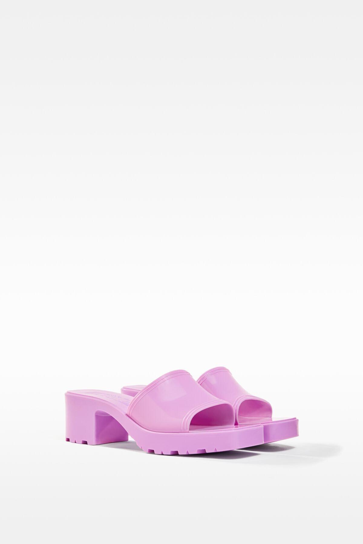 Bershka Kadın Koyu Mor Parlak Topuklu Sandalet 11721760 2