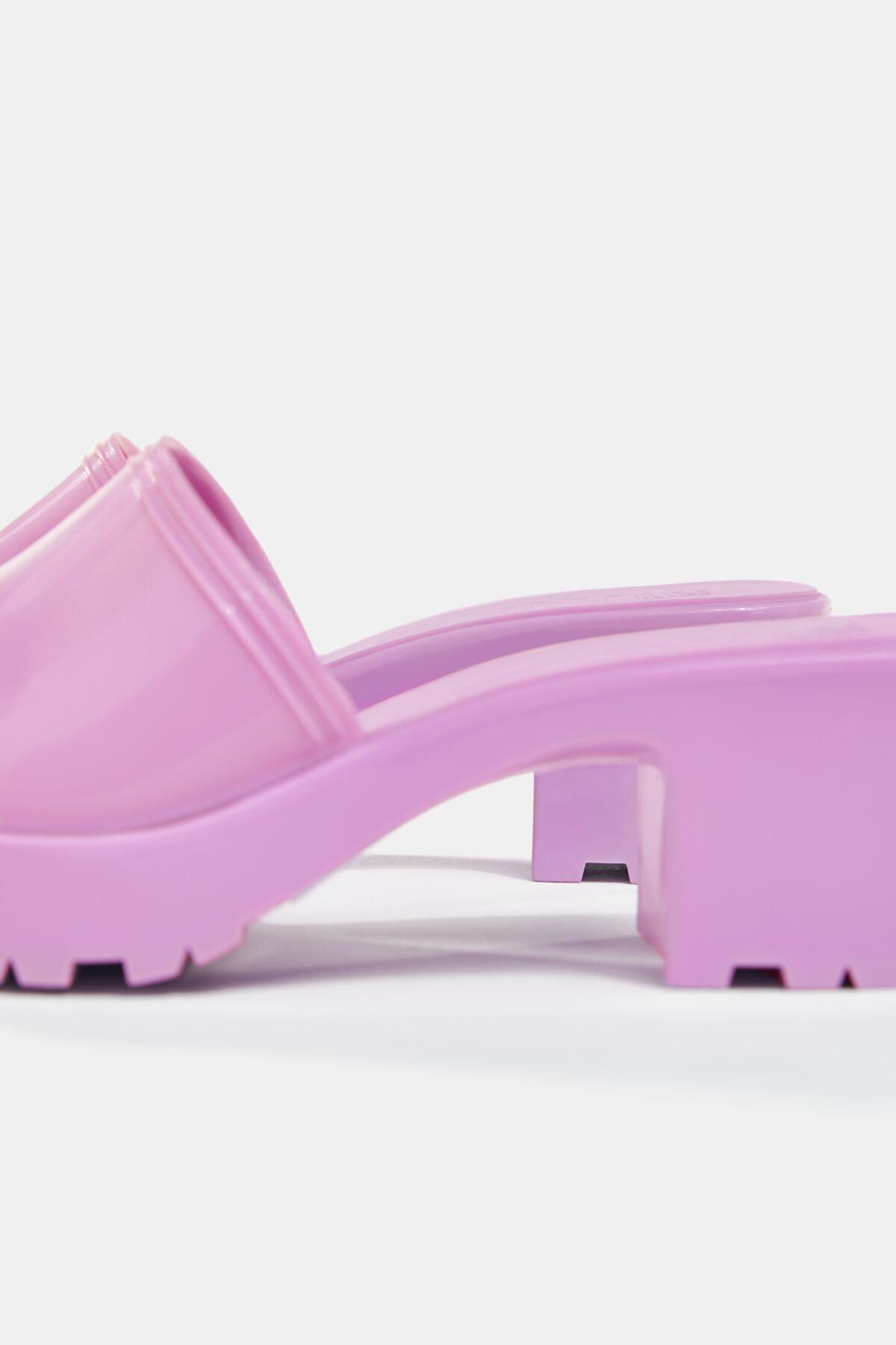 Bershka Kadın Koyu Mor Parlak Topuklu Sandalet 11721760 4