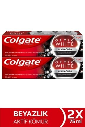 Colgate Optic White Aktif Kömür Yumuşak Mineral Temizliği Beyazlatıcı Diş Macunu 2 X 75 ml 0
