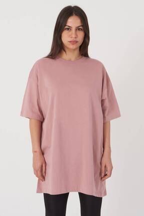 Addax Kadın Gül Oversize T-Shirt P0731 - G6K7 Adx-0000020596 1