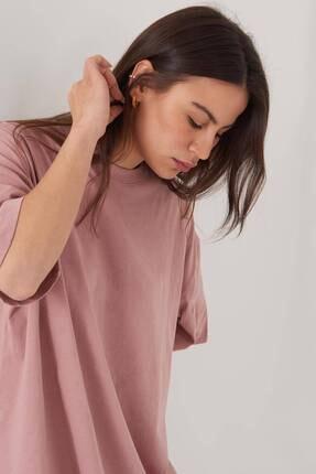 Addax Kadın Gül Oversize T-Shirt P0731 - G6K7 Adx-0000020596 2