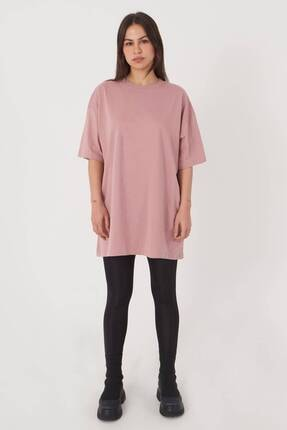 Addax Kadın Gül Oversize T-Shirt P0731 - G6K7 Adx-0000020596 3