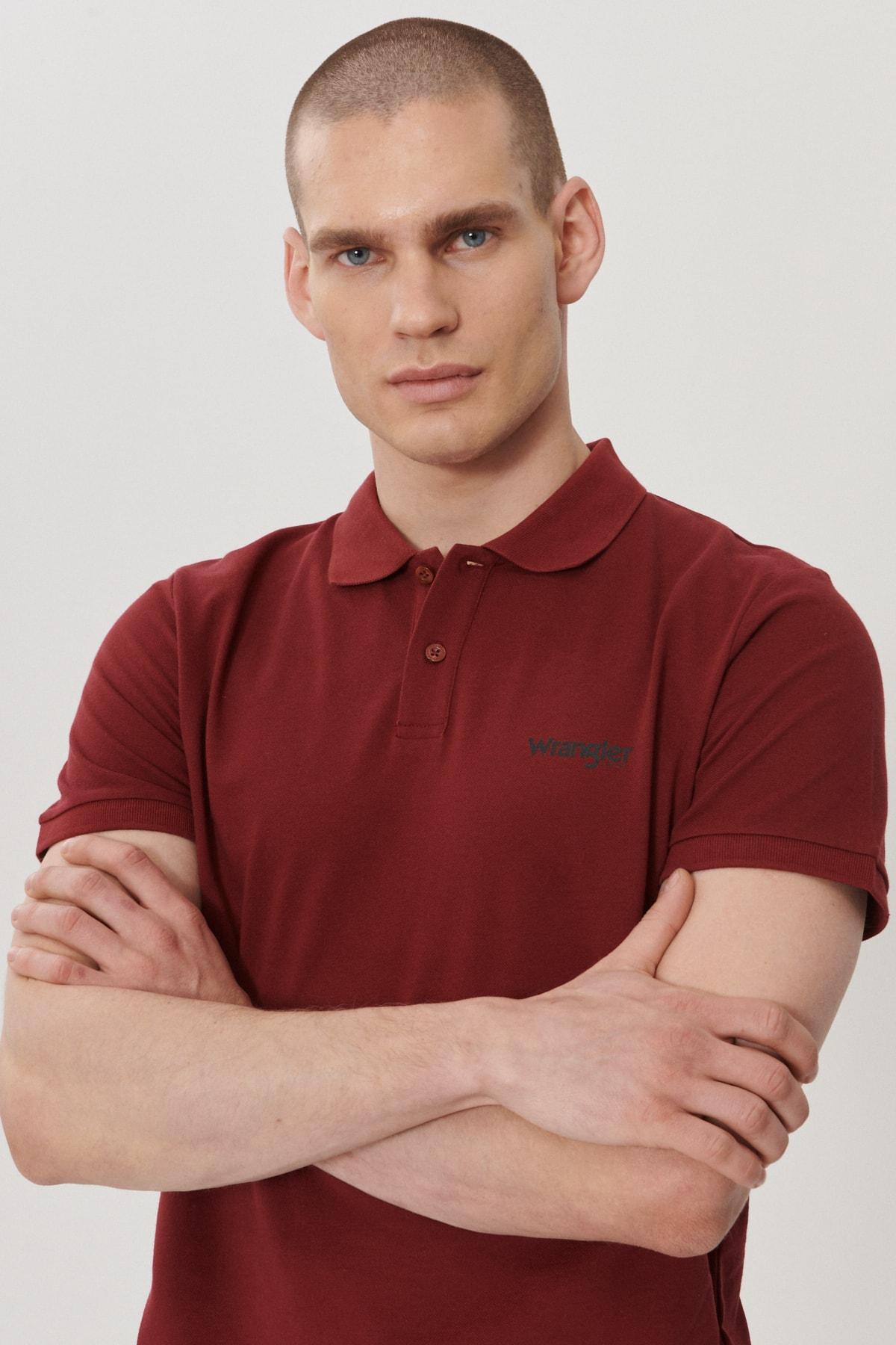 Wrangler Erkek Bordo Regular Fit Polo Yaka T-Shirt 1
