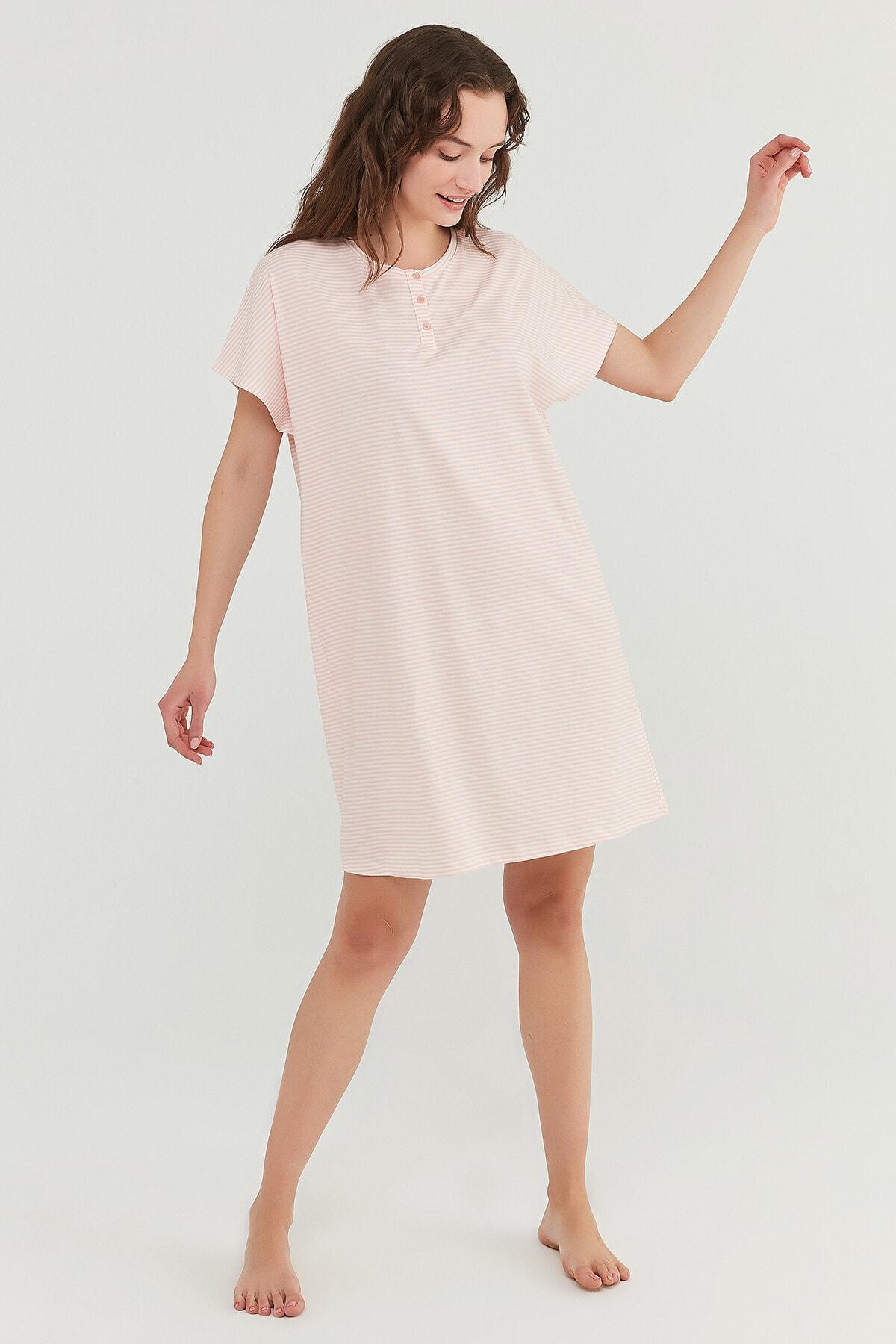 Penti Somon Pretty Striped Elbise 3
