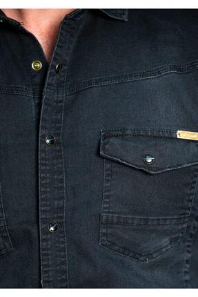 BAYEFENDİ Siyah Cepli Kot Gömlek Slim Fit 3