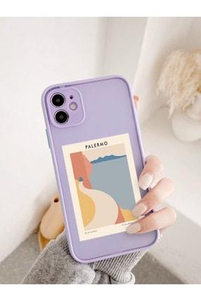 mooodcase Iphone 11 Uyumlu Lila Kamera Lens Korumalı Palermo Desenli Lüx Telefon Kılıfı 0