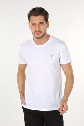 AllSaints Erkek Beyaz Bisiklet Yaka T-shirt 0