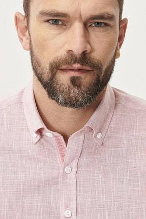 Altınyıldız Classics Erkek Bordo Tailored Slim Fit Dar Kesim Düğmeli Yaka %100 Koton Gömlek 2