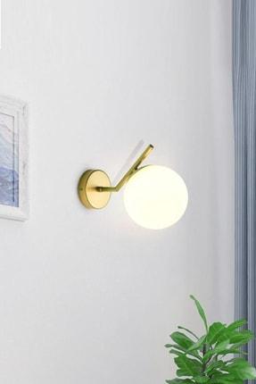 Ömür Avize Kama Mat Gold Kasa Beyaz Kapalı Opal Camlı Aplik 0