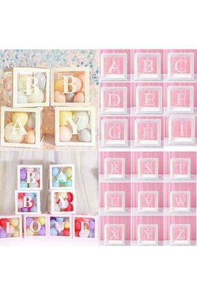Patladı Gitti Şeffaf M Harfli Beyaz Kutu Ve Balon Seti Kendin Yap Bebek Çocuk Doğum Günü Süsleme 1