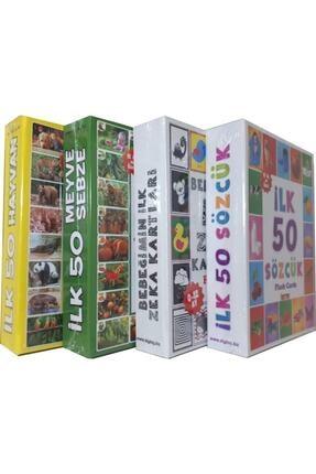 Diytoy 4'lü Eğitim Seti ( Ilk 50 Sözcük + Ilk 50 Hayvan + Ilk 50 Sebze Meyve + Bebeğimin Ilk Zeka Kartları 0