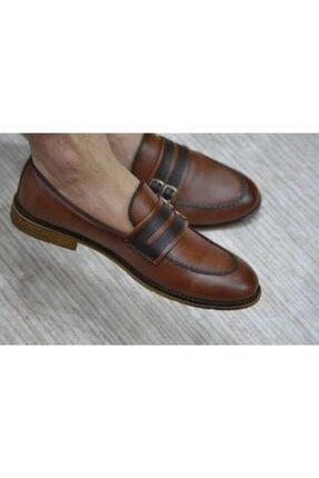 Erkek Çift Tokalı Kahverengi Deri Ayakkabı MD2001GYM