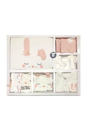 Miniworld Kız Bebek Pembe Beyaz Kız Uyuyan Tavşan 10 Parça Hastane Çıkışı Zıbın Seti 0