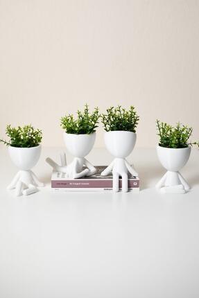 XYZ SAKSI Insansı Saksılar Beyaz 4'lü Set Yapay Çiçekli 0
