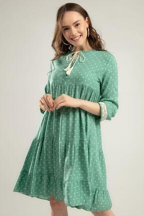 Pattaya Kadın Puantiyeli Dantel Detaylı Elbise Y20s110-1637 2
