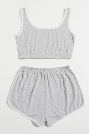 Imoda Kadın Gri Askılı Pamuklu Pijama Takımı 1
