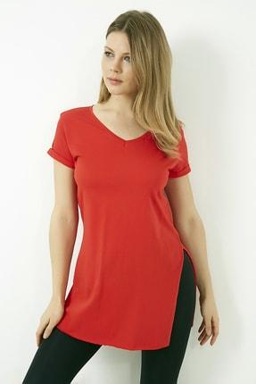 Vis a Vis Kadın Kırmızı V Yaka Yırtmaçlı Uzun Tshirt 3