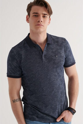 Avva Erkek Lacivert Polo Yaka Jakarlı T-shirt A11y1116 1