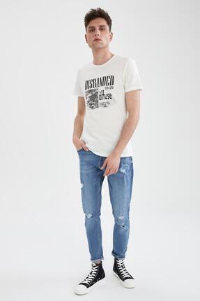 Defacto Erkek Ekru Slim Fit Slogan Baskılı Tişört 1